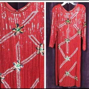 Vintage 80s 90s Heavily Sequined Sheath Dress